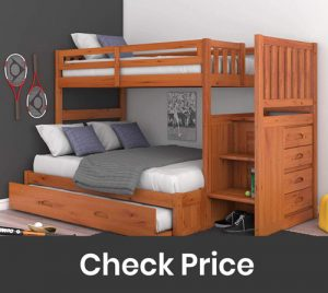 Mission Twin Over Full Staircase Bunk Bed with Trundle